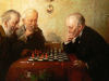 Hans Lassen - Portrait of three gentlemen playing chess